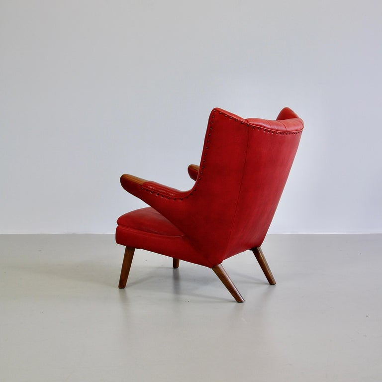 Mid-Century Modern Hans J. Wegner Armchair 'Papa Bear' 'Red Leather' and Footstool For Sale