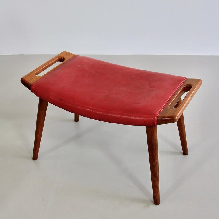 Danish Hans J. Wegner Armchair 'Papa Bear' 'Red Leather' and Footstool For Sale