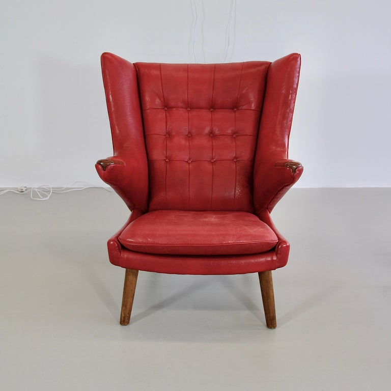 Mid-20th Century Hans J. Wegner Armchair 'Papa Bear' 'Red Leather' and Footstool For Sale