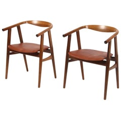 Hans J. Wegner Armchairs, Model GE-525, Smoked Oak and Aniline Leather, GETAMA