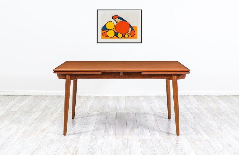 Mid-Century Modern Hans J. Wegner AT 312 Teak Draw-Leaf Dining Table for Andreas Tuck For Sale