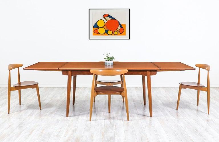 Danish Hans J. Wegner AT 312 Teak Draw-Leaf Dining Table for Andreas Tuck For Sale