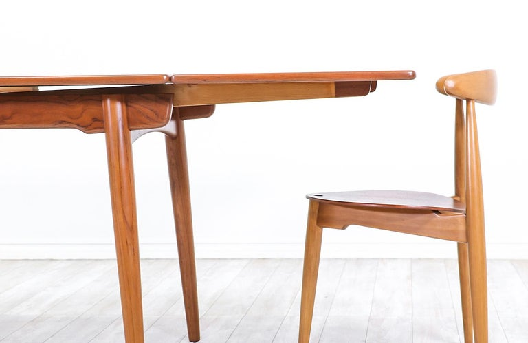 Wood Hans J. Wegner AT 312 Teak Draw-Leaf Dining Table for Andreas Tuck For Sale