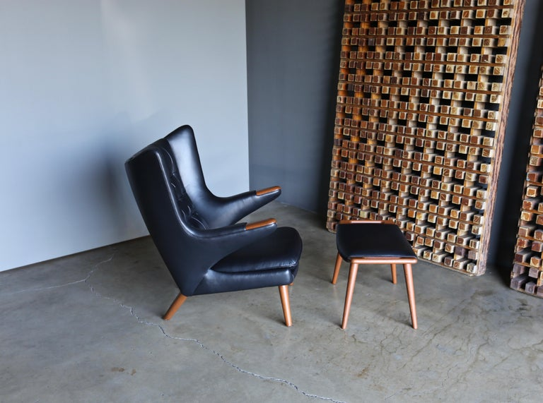 Hans J. Wegner Black Leather Papa Bear Chair and Ottoman for A.P. Stolen For Sale 4