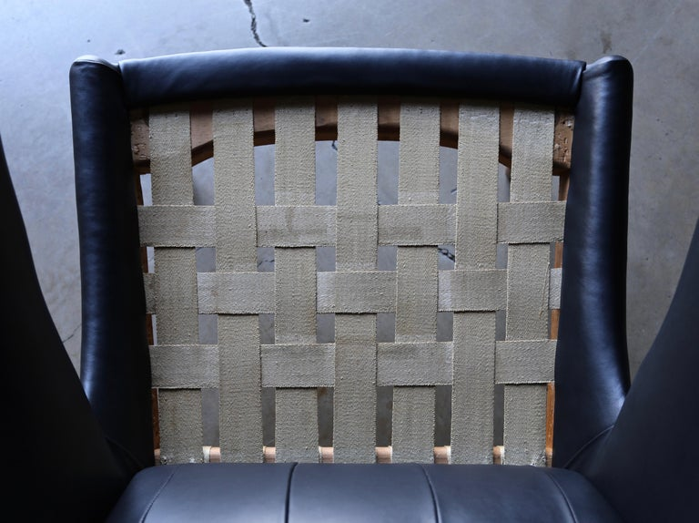 Hans J. Wegner Black Leather Papa Bear Chair and Ottoman for A.P. Stolen For Sale 7