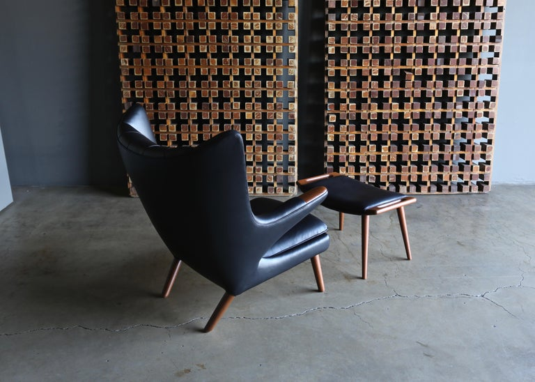 Hans J. Wegner Black Leather Papa Bear Chair and Ottoman for A.P. Stolen For Sale 8