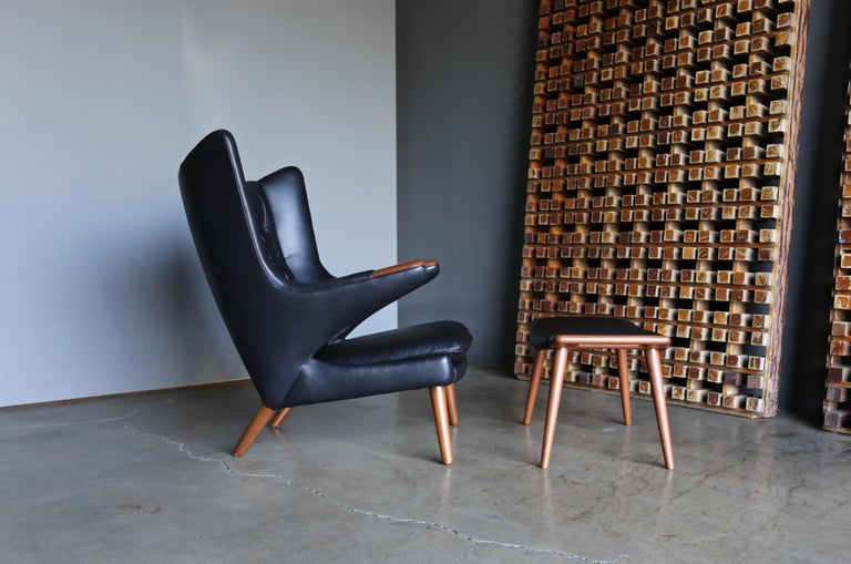 Mid-Century Modern Hans J. Wegner Black Leather Papa Bear Chair and Ottoman for A.P. Stolen For Sale