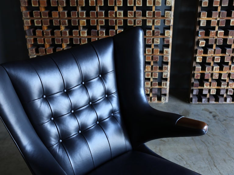 Danish Hans J. Wegner Black Leather Papa Bear Chair and Ottoman for A.P. Stolen For Sale