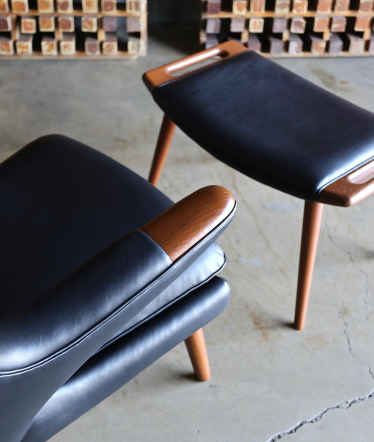20th Century Hans J. Wegner Black Leather Papa Bear Chair and Ottoman for A.P. Stolen For Sale