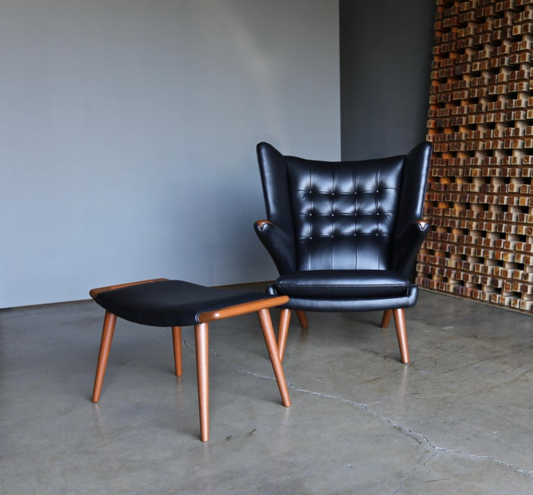Hans J. Wegner Black Leather Papa Bear Chair and Ottoman for A.P. Stolen For Sale 1