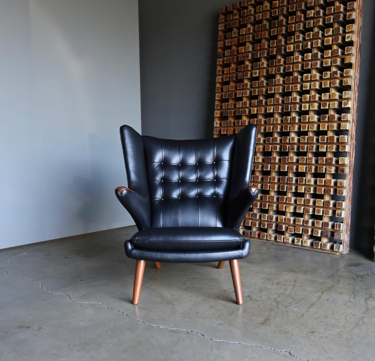 Hans J. Wegner Black Leather Papa Bear Chair and Ottoman for A.P. Stolen For Sale 2
