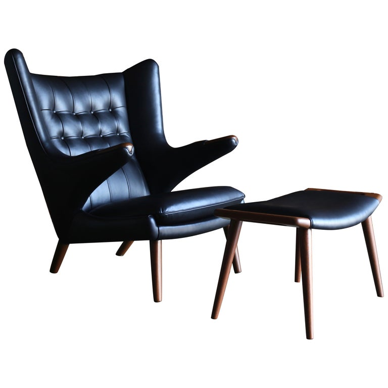 Hans J. Wegner Black Leather Papa Bear Chair and Ottoman for A.P. Stolen For Sale