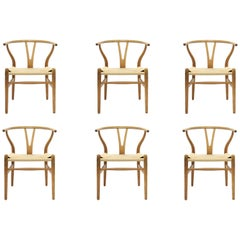 Hans J. Wegner CH-24 Oak Wishbone Dining Chairs, Set of 6