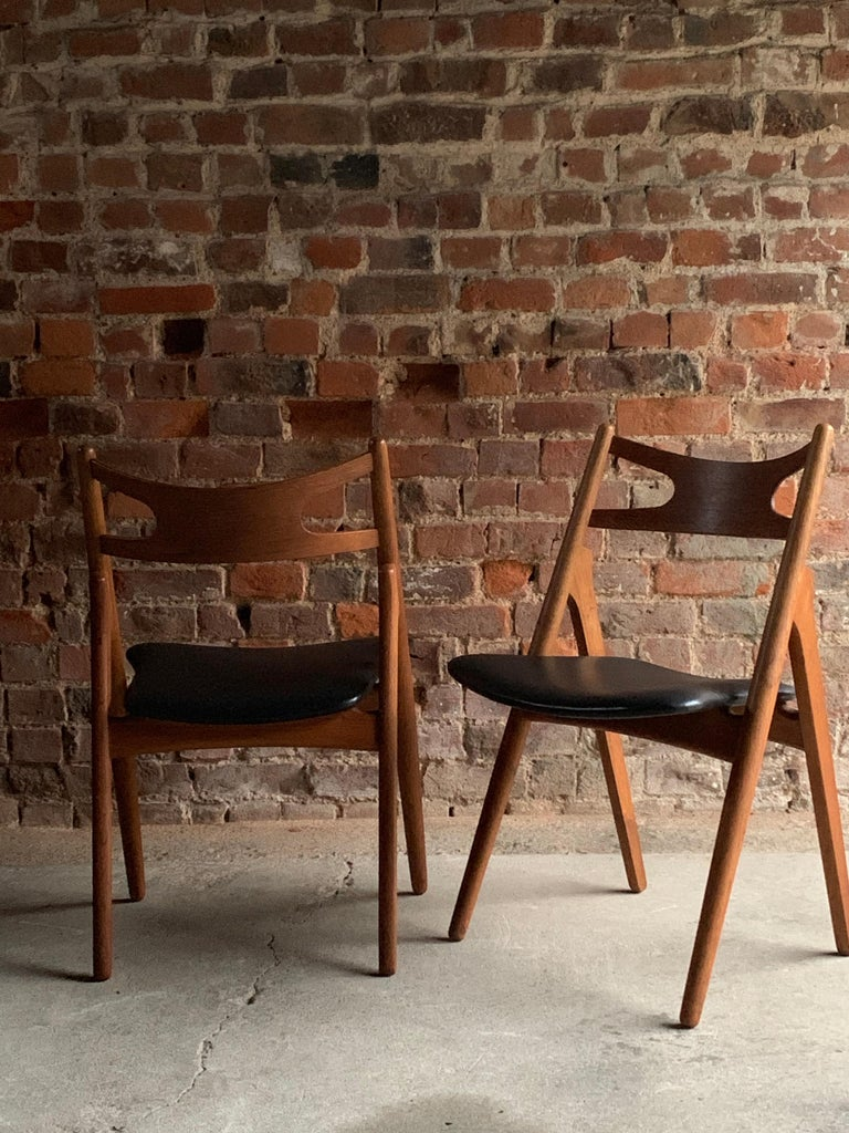 Hans J Wegner CH29 Sawbuck Four Teak Dining Chairs by Carl Hansen, Denmark 1950s For Sale 4