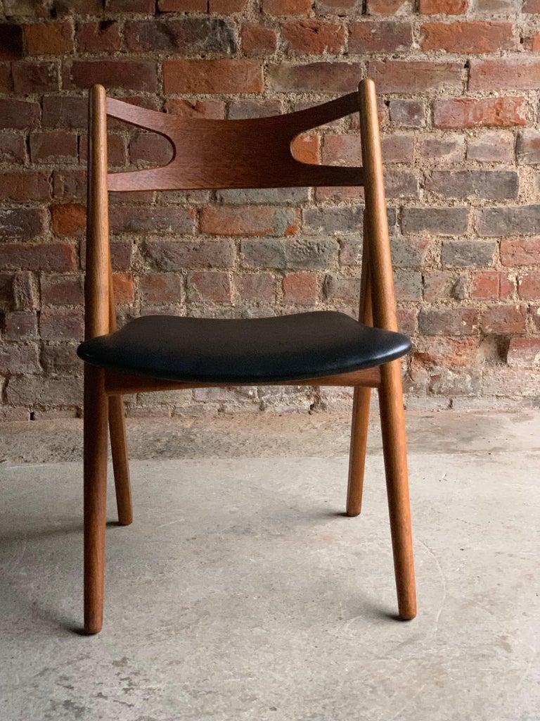 Hans J Wegner CH29 Sawbuck Four Teak Dining Chairs by Carl Hansen, Denmark 1950s For Sale 5