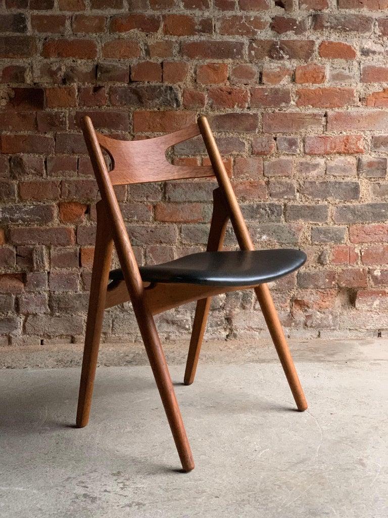 Hans J Wegner CH29 Sawbuck Four Teak Dining Chairs by Carl Hansen, Denmark 1950s For Sale 6