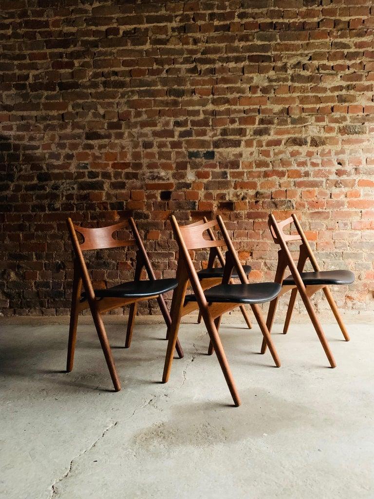 Mid-20th Century Hans J Wegner CH29 Sawbuck Four Teak Dining Chairs by Carl Hansen, Denmark 1950s For Sale