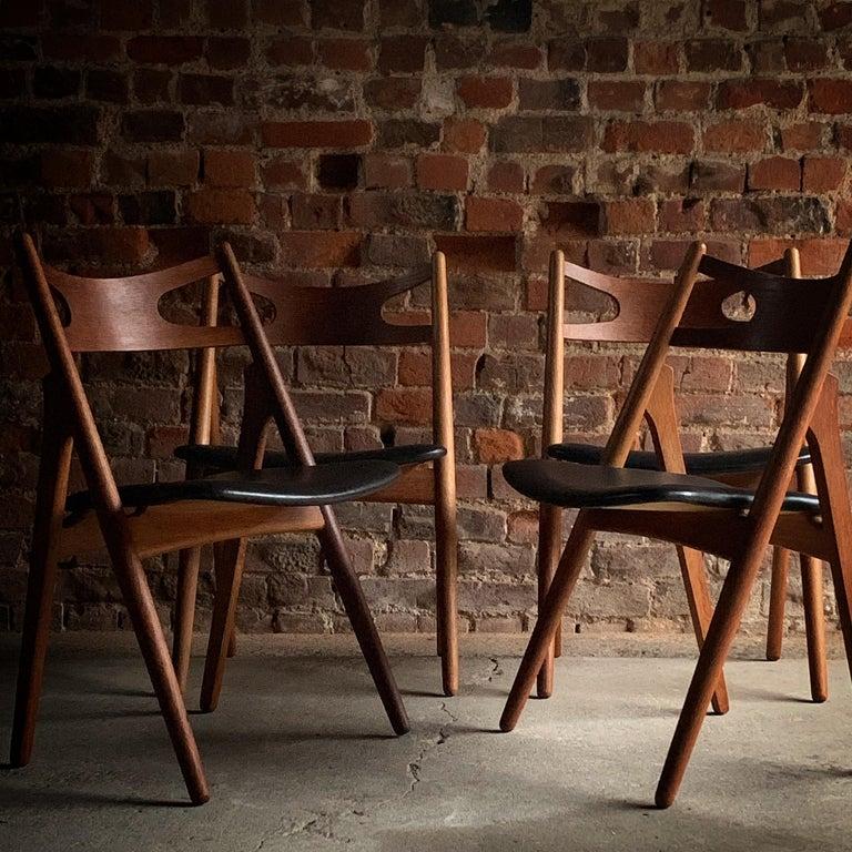 Hans J Wegner CH29 Sawbuck Four Teak Dining Chairs by Carl Hansen, Denmark 1950s For Sale 1