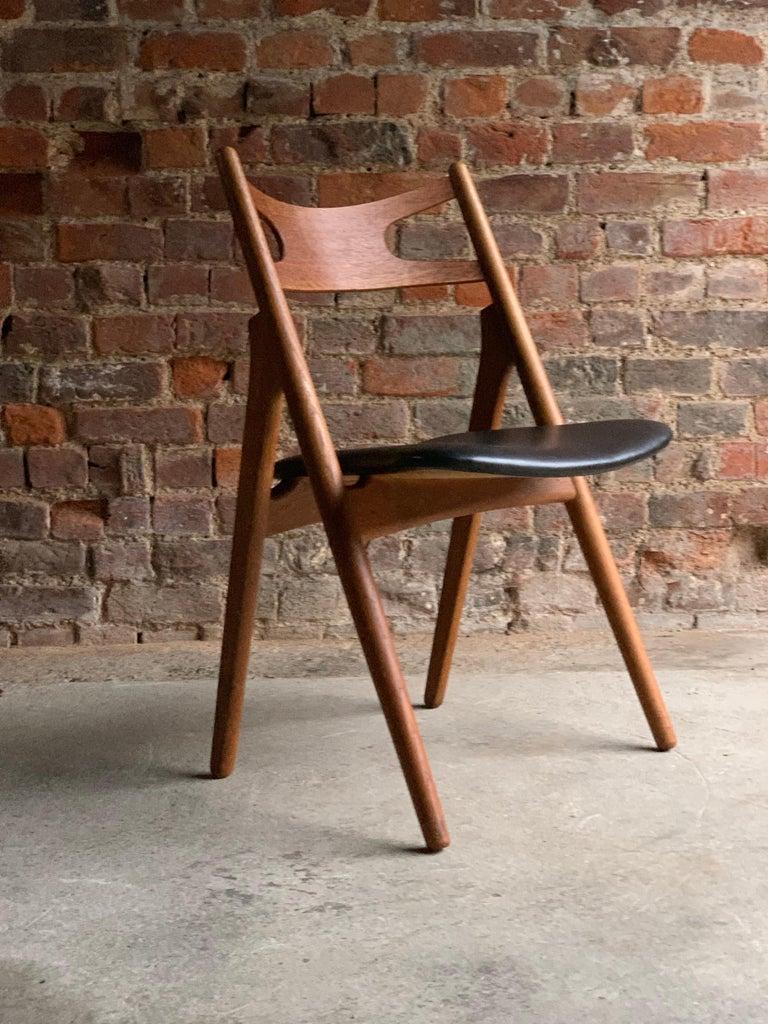 Hans J Wegner CH29 Sawbuck Four Teak Dining Chairs by Carl Hansen, Denmark 1950s For Sale 3