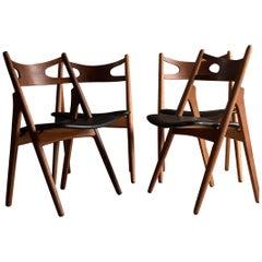 Hans J Wegner CH29 Sawbuck Four Teak Dining Chairs by Carl Hansen, Denmark 1950s