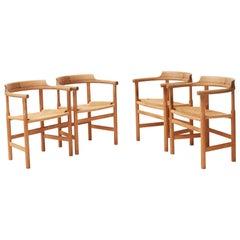 Hans J. Wegner Chairs Set of 4 PP 203 Armchairs
