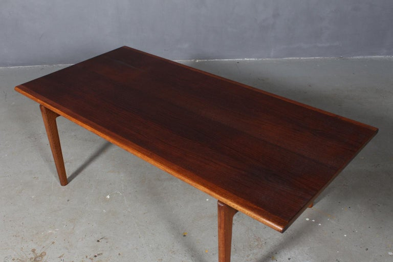 Hans J. Wegner coffee table, partly solid smoked oak.