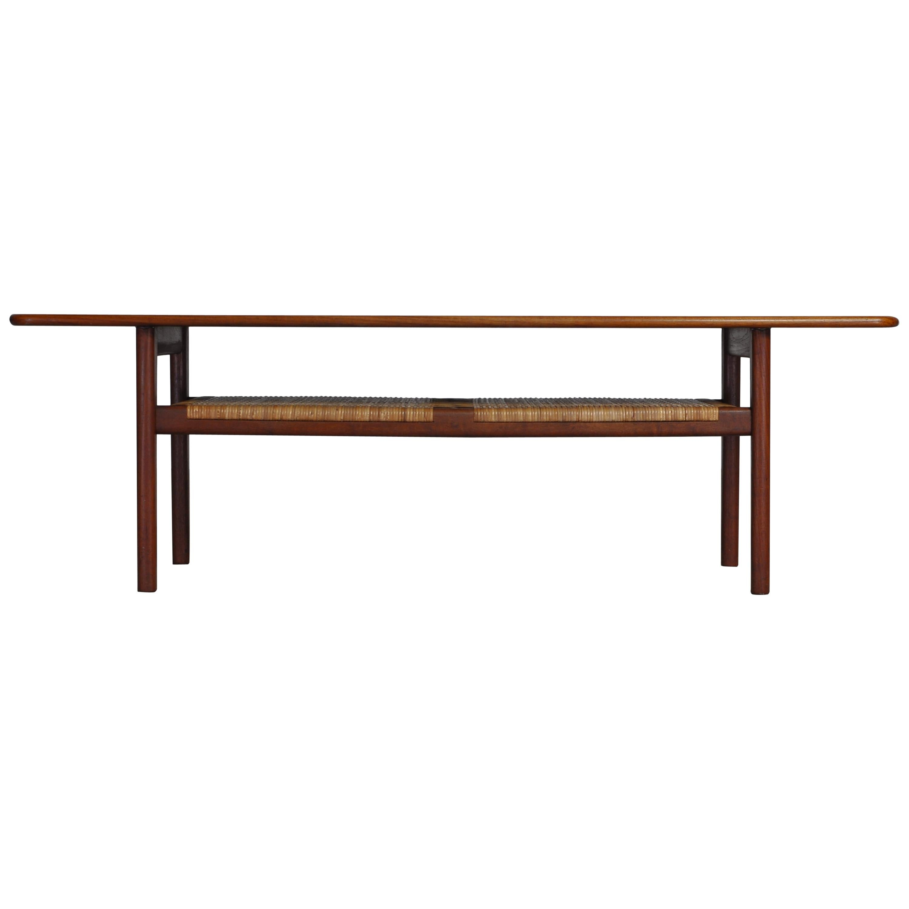 Hans J. Wegner Coffee Table Model AT-10 in Teak and Cane, Andreas Tuck, 1950s