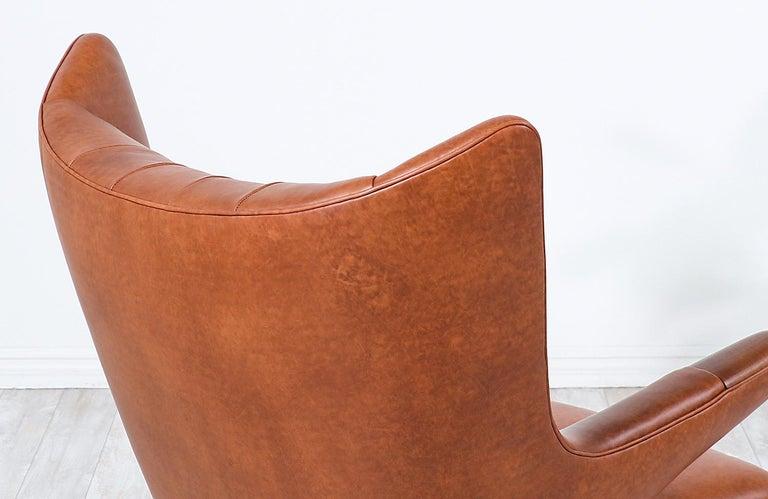 "Hans J. Wegner Cognac Leather ""Papa Bear"" Chair with Ottoman for A.P. Stolen 6"