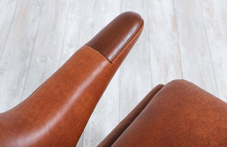 "Hans J. Wegner Cognac Leather ""Papa Bear"" Chair with Ottoman for A.P. Stolen 8"