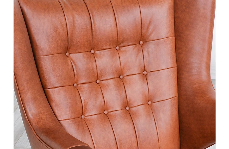"Hans J. Wegner Cognac Leather ""Papa Bear"" Chair with Ottoman for A.P. Stolen 10"