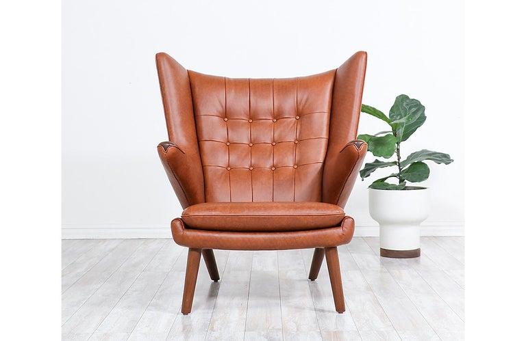 "Hans J. Wegner Cognac Leather ""Papa Bear"" Chair with Ottoman for A.P. Stolen 11"