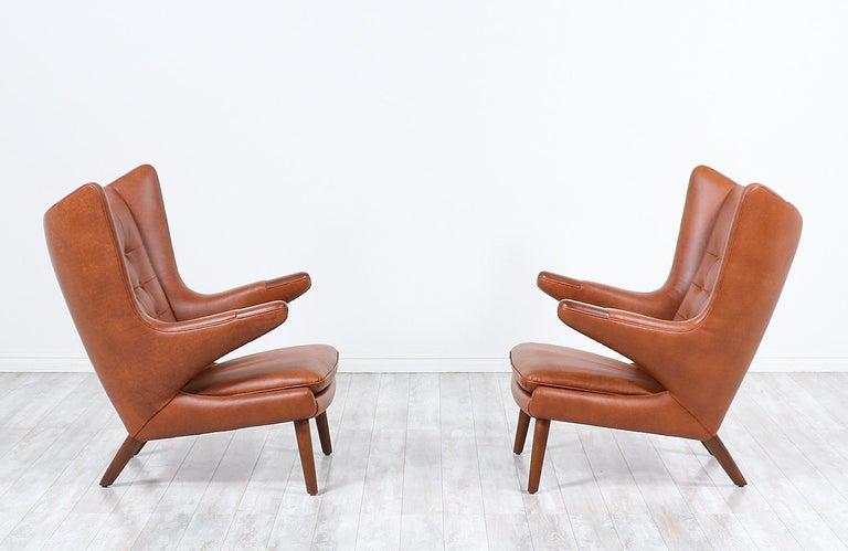 "Mid-Century Modern Hans J. Wegner Cognac Leather ""Papa Bear"" Chair with Ottoman for A.P. Stolen"