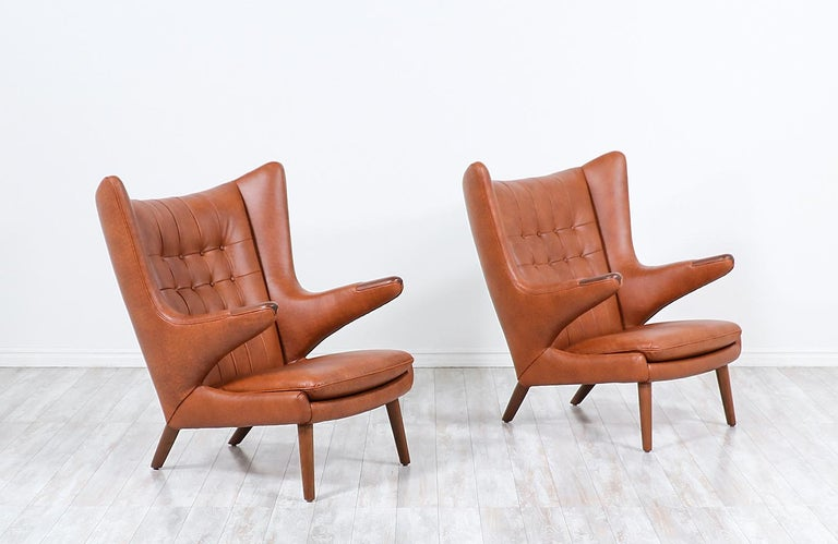 "Danish Hans J. Wegner Cognac Leather ""Papa Bear"" Chair with Ottoman for A.P. Stolen"