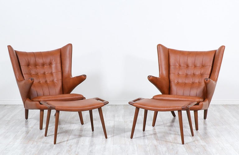 """Hans J. Wegner Cognac Leather """"Papa Bear"""" Chair with Ottoman for A.P. Stolen In Excellent Condition In Los Angeles, CA"""