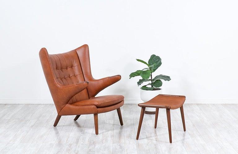 "Mid-20th Century Hans J. Wegner Cognac Leather ""Papa Bear"" Chair with Ottoman for A.P. Stolen"