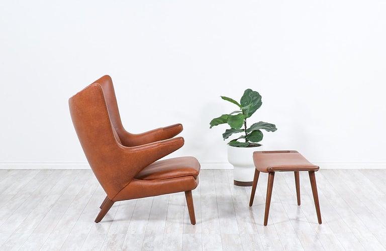 "Hans J. Wegner Cognac Leather ""Papa Bear"" Chair with Ottoman for A.P. Stolen 1"
