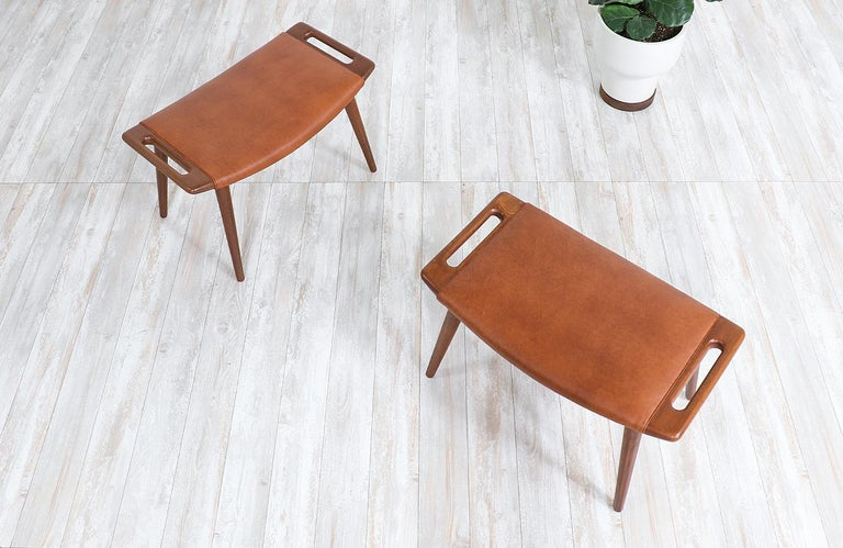 "Hans J. Wegner Cognac Leather ""Papa Bear"" Chair with Ottoman for A.P. Stolen 2"
