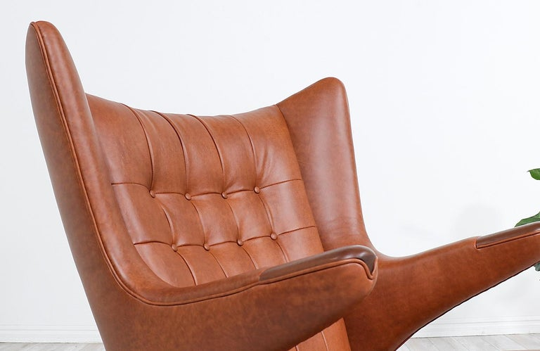 "Hans J. Wegner Cognac Leather ""Papa Bear"" Chair with Ottoman for A.P. Stolen 3"