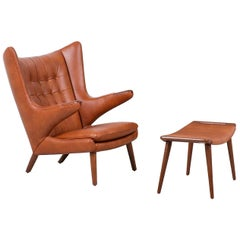 "Hans J. Wegner Cognac Leather ""Papa Bear"" Chair with Ottoman for A.P. Stolen"