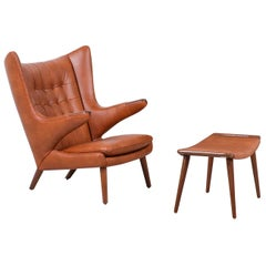 "Hans J. Wegner Cognac Leather ""Papa Bear"" Chair with Ottoman for A.P. Stolen Møb"