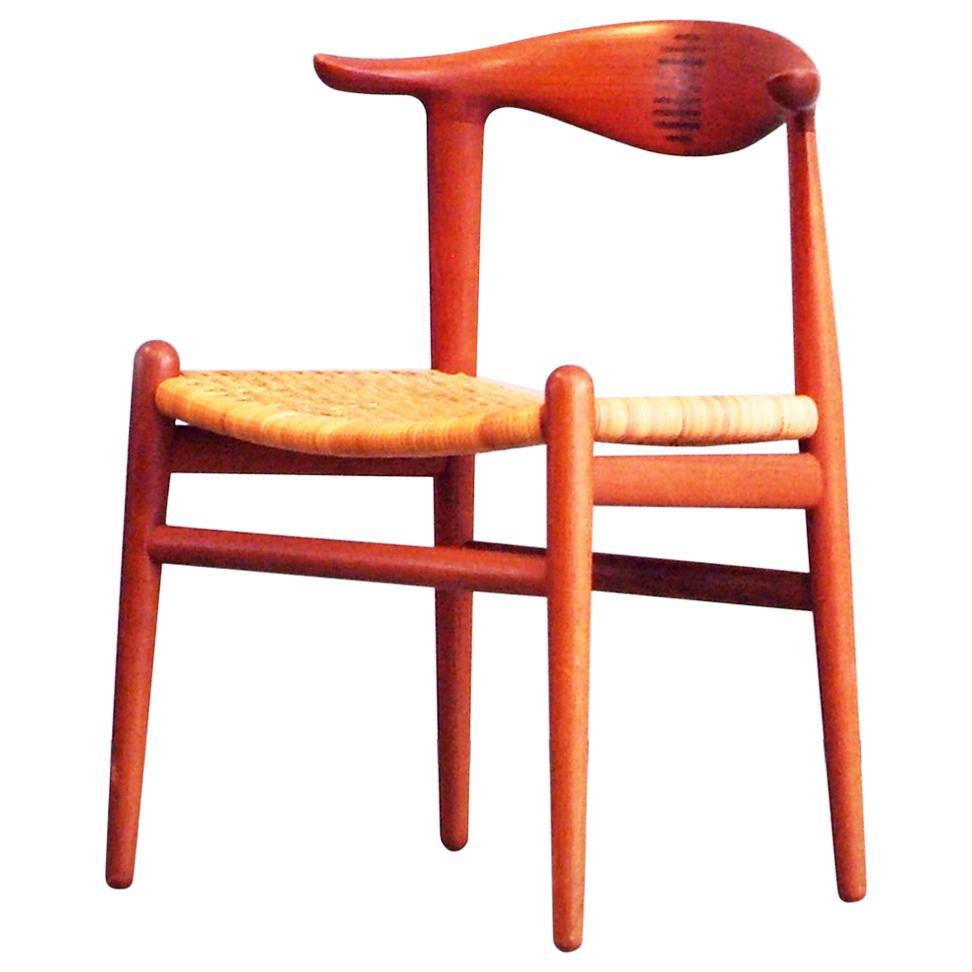 Hans J. Wegner Cow Horn Chair Teak Cane by Johannes Hansen Denmark
