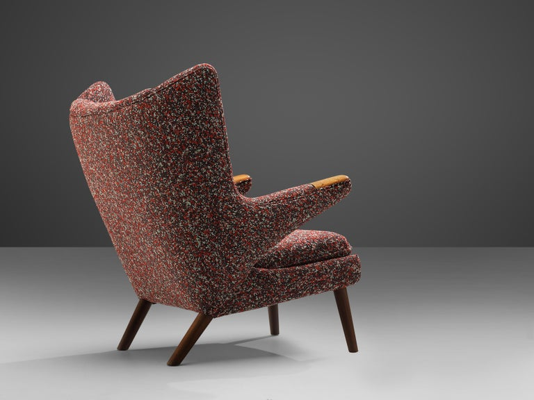 20th Century Hans J. Wegner Customized 'Papa Bear' Lounge Chair Upholstered in Raf Simons For Sale