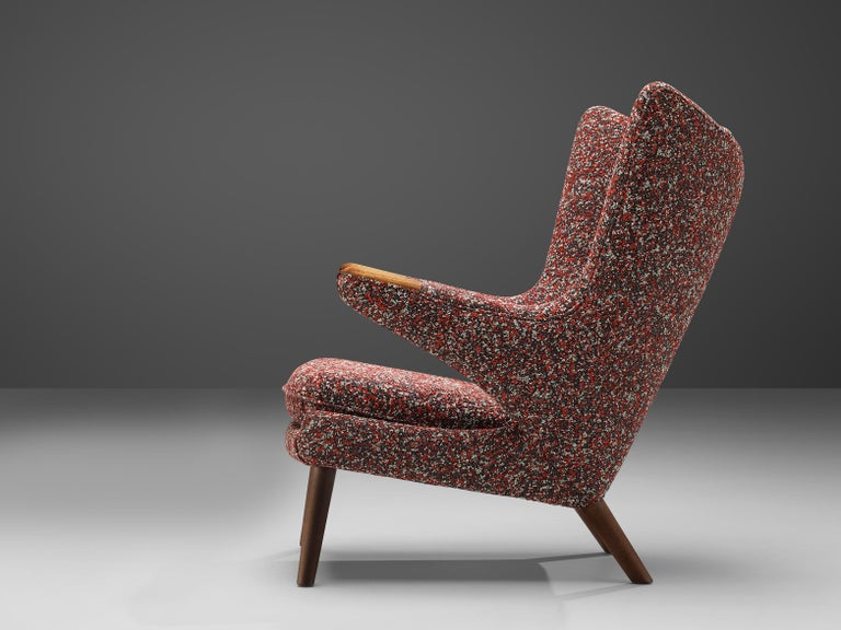 Hans J. Wegner Customized 'Papa Bear' Lounge Chair Upholstered in Raf Simons For Sale 1