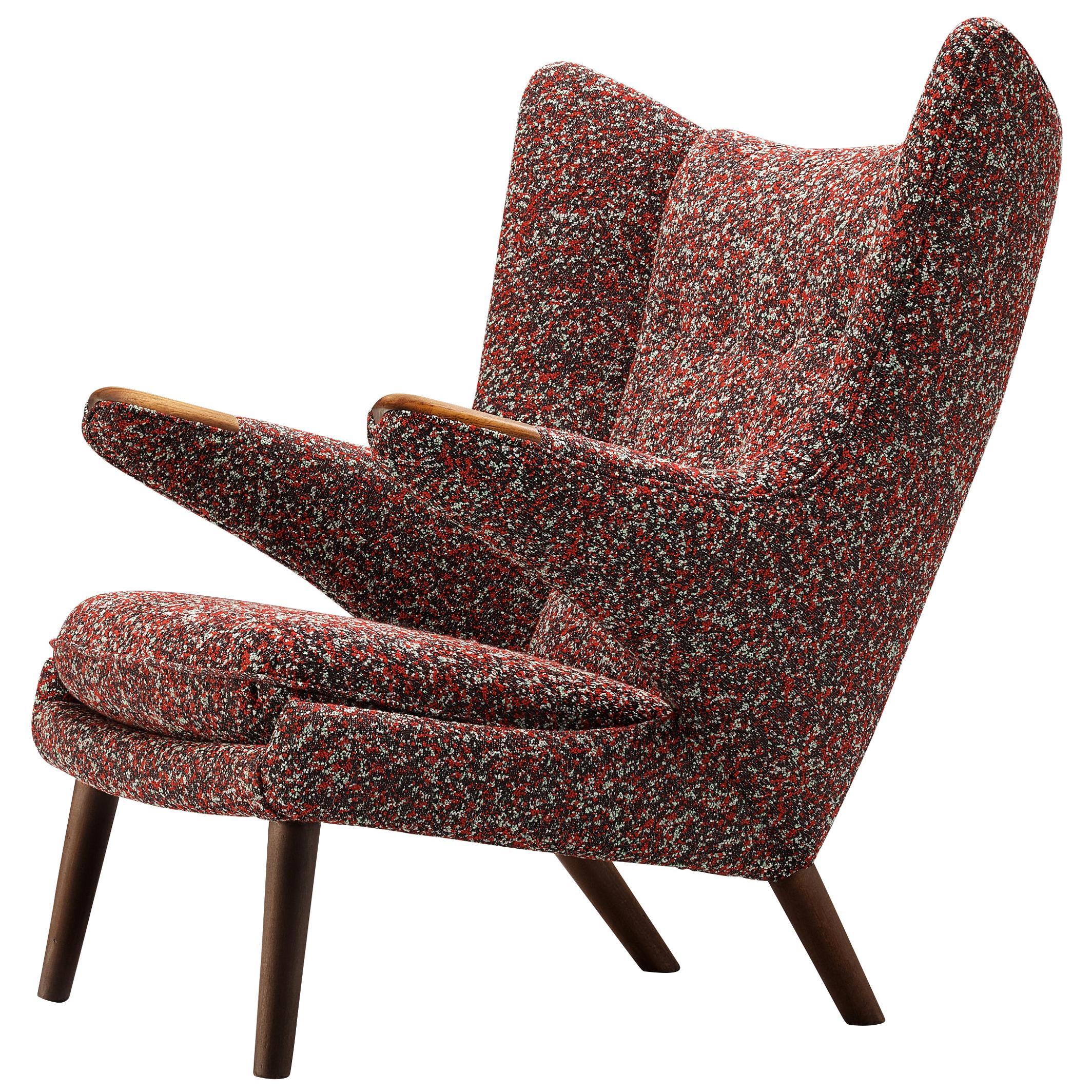 Hans J. Wegner Customized 'Papa Bear' Lounge Chair Upholstered in Raf Simons