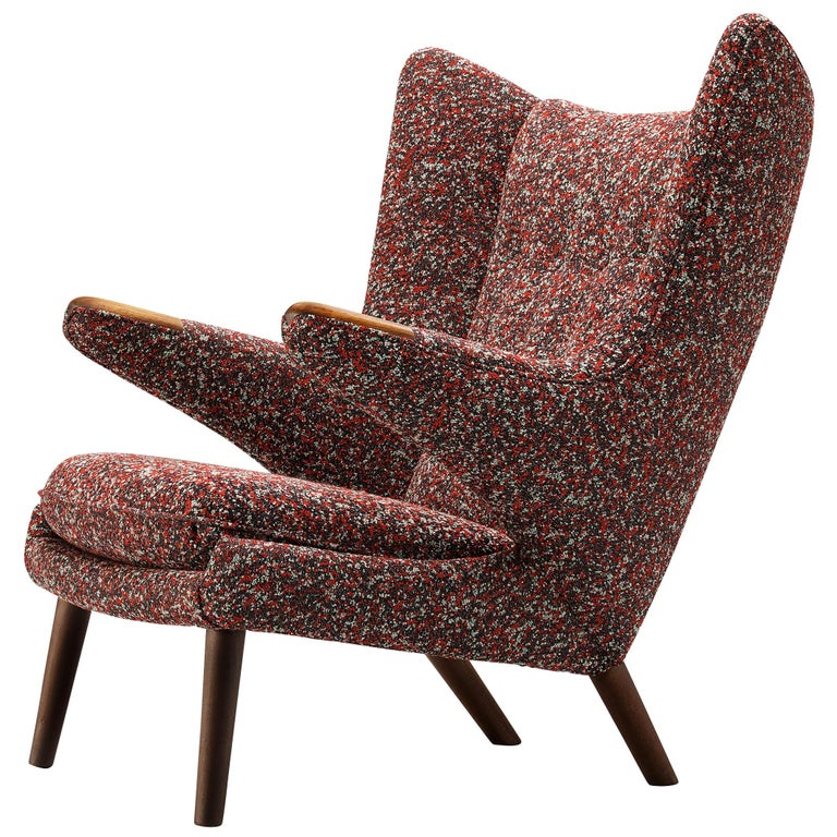 Hans J. Wegner Customized 'Papa Bear' Lounge Chair Upholstered in Raf Simons For Sale