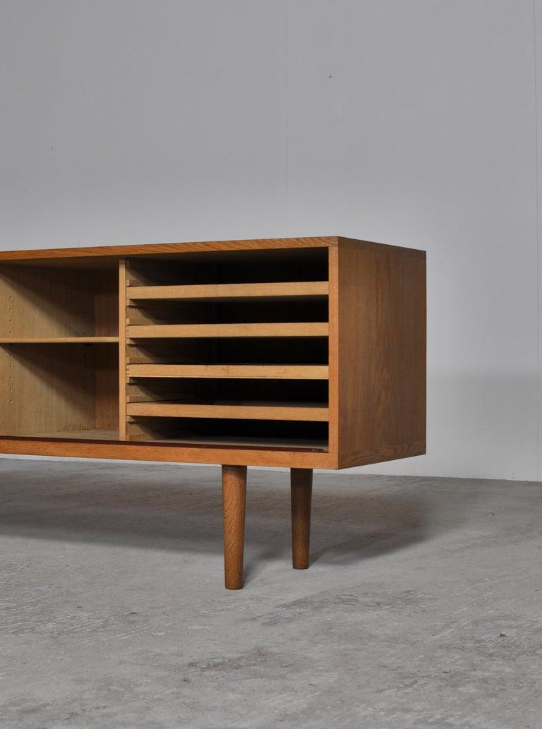 Brass Hans J. Wegner Danish Modern Sideboard in Oak Model