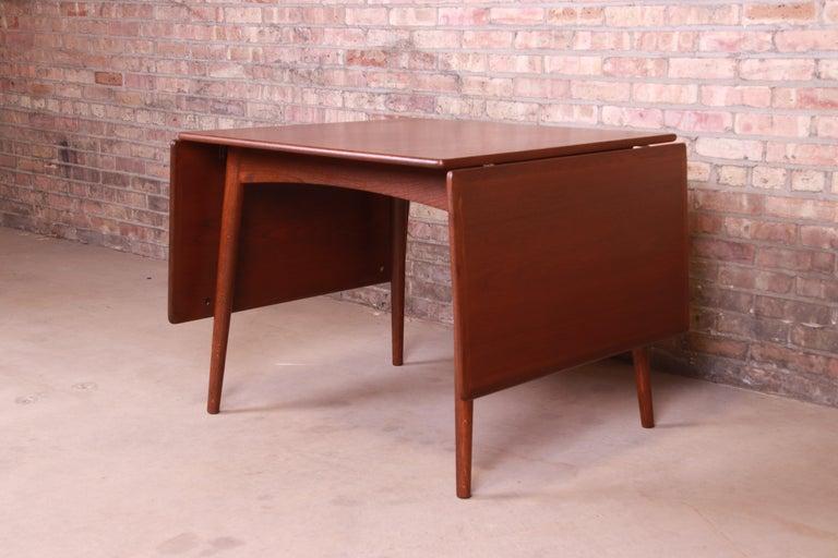 Hans J. Wegner Danish Modern Teak Drop-Leaf Dining Table, Newly Refinished For Sale 4