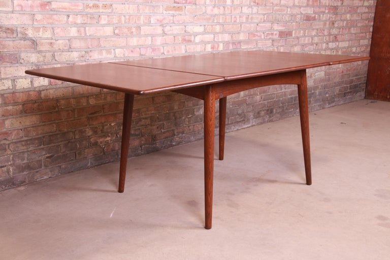 Mid-Century Modern Hans J. Wegner Danish Modern Teak Drop-Leaf Dining Table, Newly Refinished For Sale