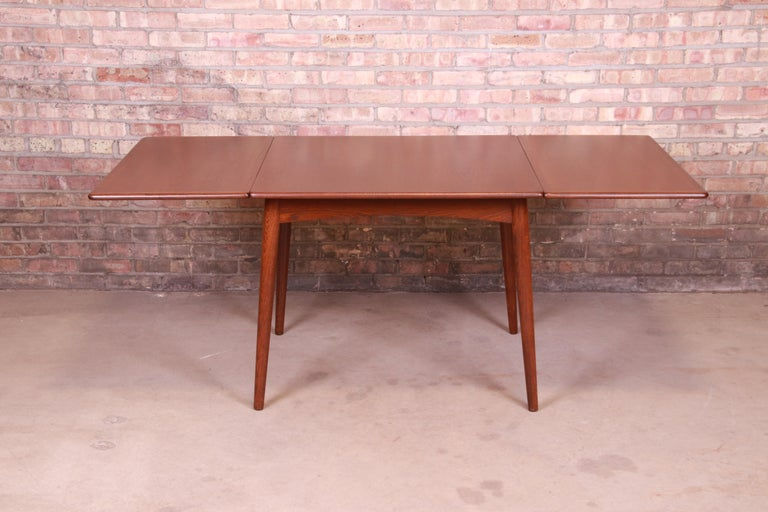 Hans J. Wegner Danish Modern Teak Drop-Leaf Dining Table, Newly Refinished In Good Condition For Sale In South Bend, IN
