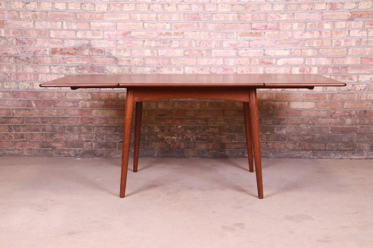 Mid-20th Century Hans J. Wegner Danish Modern Teak Drop-Leaf Dining Table, Newly Refinished For Sale
